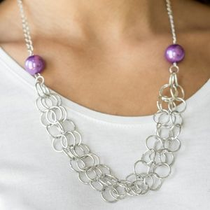 Silver and purple necklace